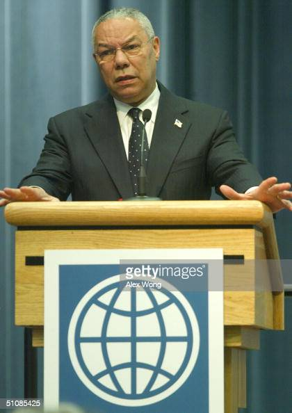 S Secretary of State Colin Powell speaks as he addresses a session of the International Donors Conference on Haiti at the World Bank Headquarters...