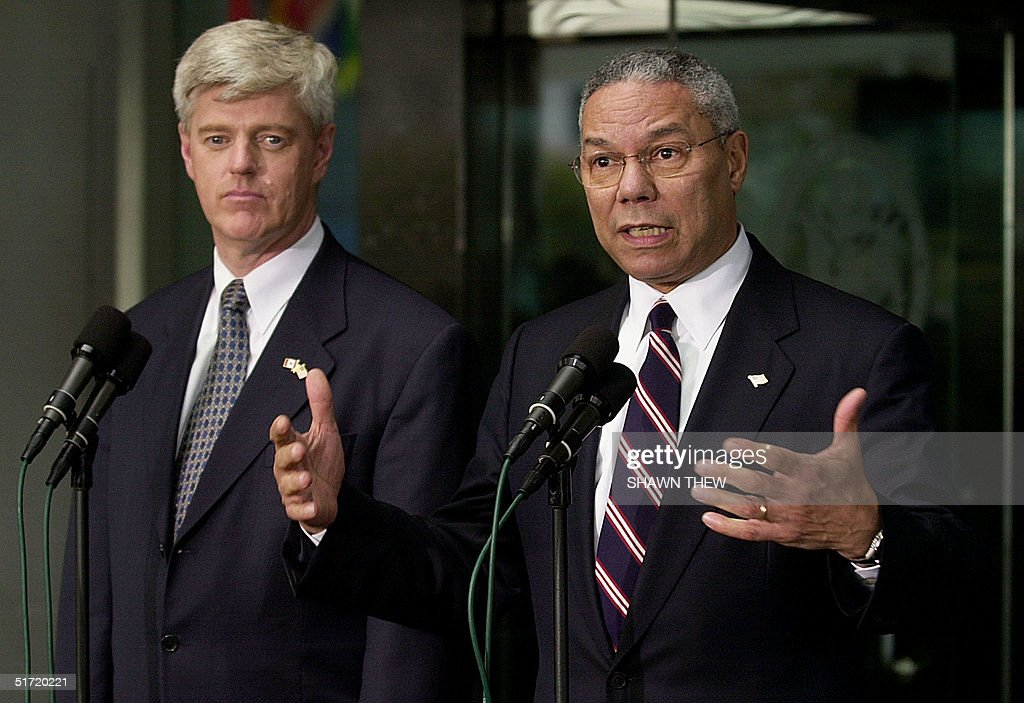 Secretary of State Colin Powell speaks to reporters next to Canadian Foreign Minister John Manley 21 September 2001 after a meeting to discuss...