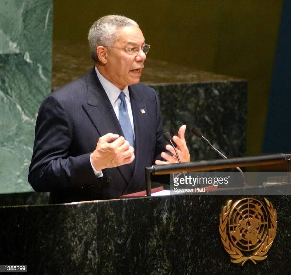S Secretary of State Colin Powell speaks to the UN General Assembly September 16 2002 in New York City Powell resumed lobbying the UN Security...