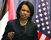Secretary of State Condoleeza Rice answers questions during a press conference with Palestinian President Mahmud Abbas at the Palestinian Authority...