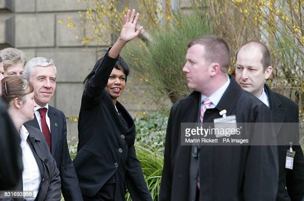 US Secretary of State Condoleezza Rice and Britain's Foreign Secretary Jack Straw arrive at Blackburn Town Hall Saturday April 1 2006 Dr Rice faced...