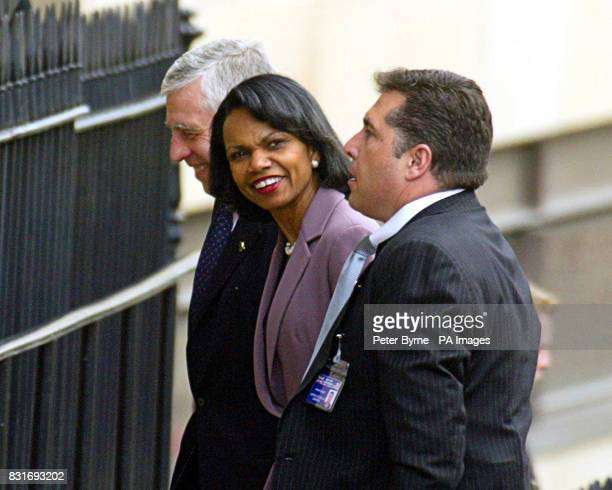 US Secretary of State Condoleezza Rice and Foreign Secretery Jack Straw arrive at Liverpool Institute For Performing Arts Liverpool Friday March 31...