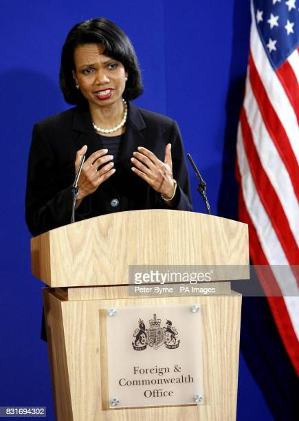 US Secretary of State Condoleezza Rice and UK Foreign Secretery Jack Straw answer questions at Blackburn Town Hall Saturday April 1st 2006 Dr Rice is...