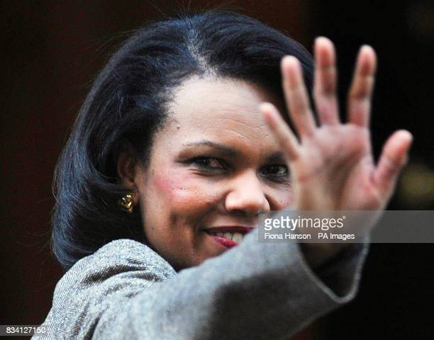 US Secretary of State Condoleezza Rice arrives at 10 Downing Street for a meeting with Prime Minister Gordon Brown