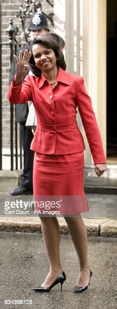 US Secretary of State Condoleezza Rice arrives at Downing Street for talks on the Middle East with Prime Minister Gordon Brown