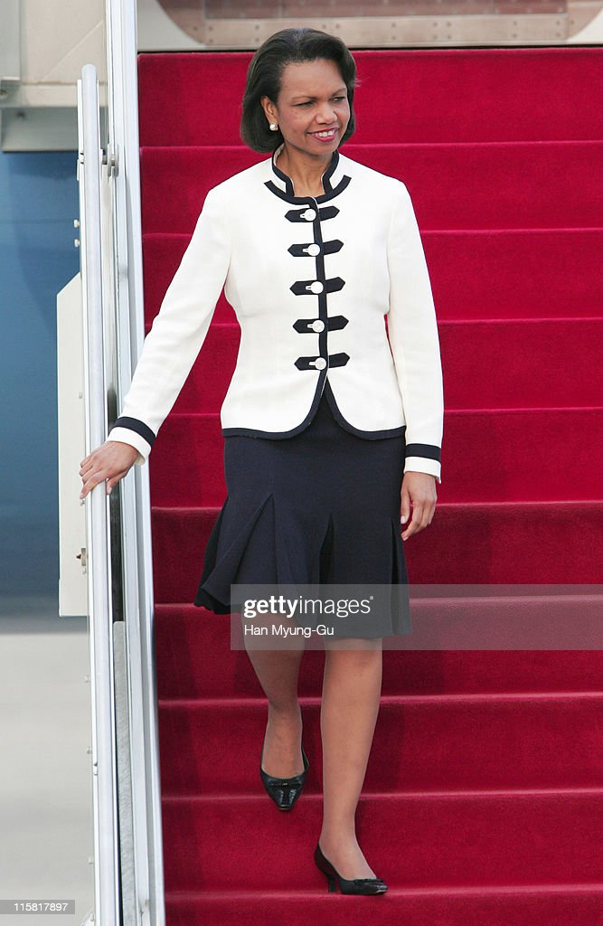 U.S. Secretary of State <a gi-track='captionPersonalityLinkClicked' href=/galleries/search?phrase=Condoleezza+Rice&family=editorial&specificpeople=157540 ng-click='$event.stopPropagation()'>Condoleezza Rice</a> arrives at Seoul Airport in Gyeonggi Province 12 July 2005. Rice's trip to China, Thailand, Japan and South Korea was planned ahead of North Korea's pledge on Saturday to return to the talks, and her revised aim consequently is to discuss how to approach the negotiations to end the North Korean nuclear standoff. Rice will join Foreign Minister Ban Ki-moon for an official dinner tonight during which they will have an in-depth discussion on the nuclear talks.