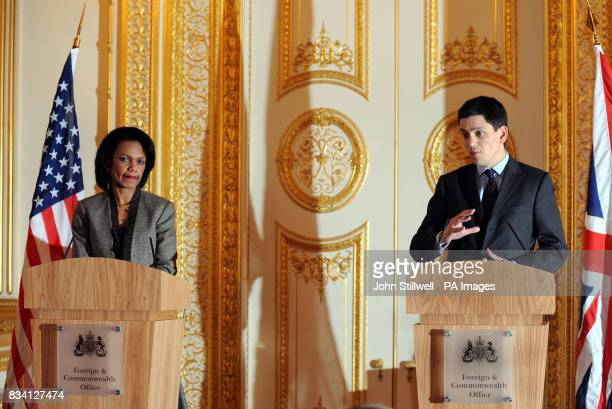 US Secretary of State Condoleezza Rice at a joint press conference with Foreign Secretary David Miliband in Lancaster House central London