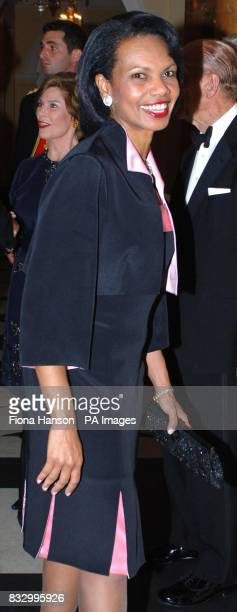 US Secretary of State Condoleezza Rice at a return dinner hosted for US President George Bush and his wife Laura by Britain's Queen Elizabeth II at...