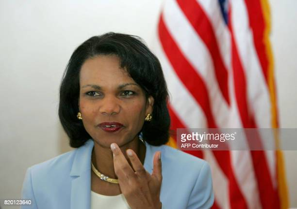US Secretary of State Condoleezza Rice gestures at the start of her meeting with Israeli Defense Minister Amir Peretz unseen 30 July 2006 in...