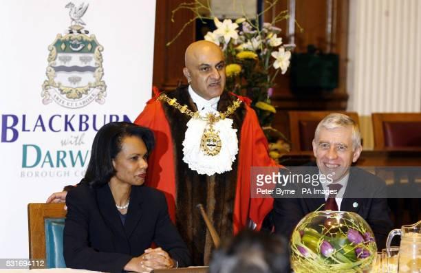 US Secretary of State Condoleezza Rice Lord Mayor of Blackburn Councillor Ysuf Jan Virmani and Foreign Secretery Jack Straw at Blackburn Town Hall...