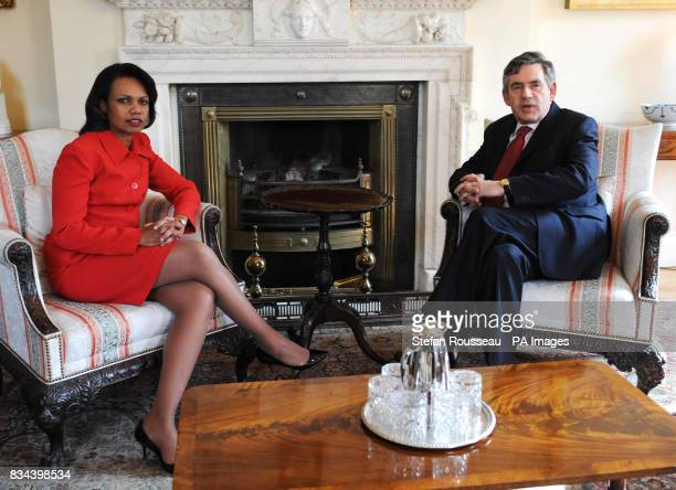 US Secretary of State Condoleezza Rice meets the Prime Minister Gordon Brown at Downing Street today for talks on the Middle East
