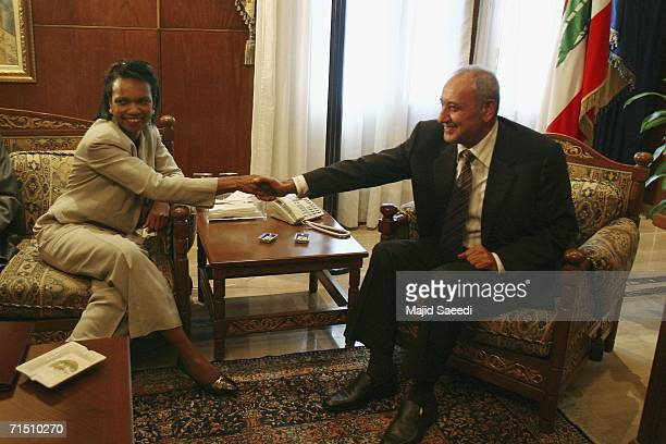 Secretary of State Condoleezza Rice meets with Lebanon's Parliament Speaker Nabih Berri during a meeting on July 24 2006 in Beirut Lebanon Rice made...