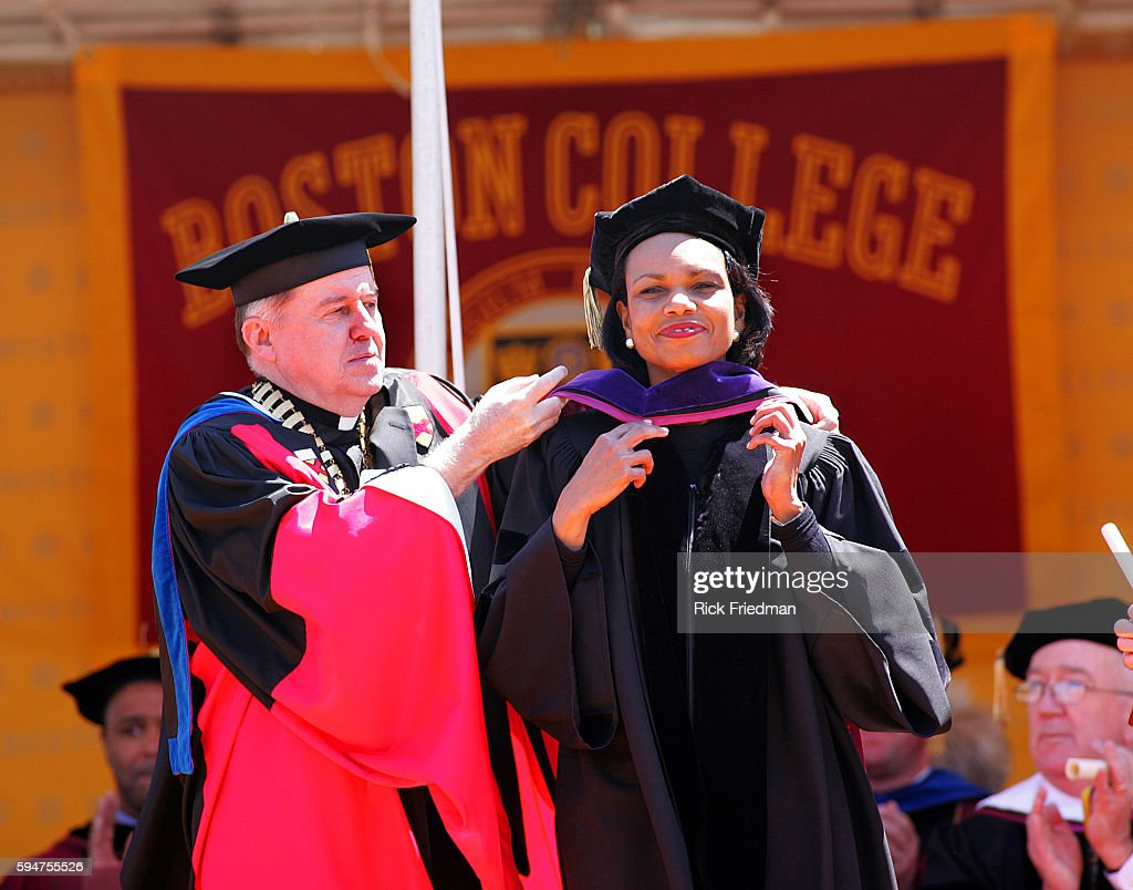 Secretary of State Condoleezza Rice receives an honorary Doctor of Laws degree from Boston College President Reverend William Leahy during...