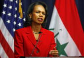 S Secretary of State Condoleezza Rice speaks at a joint press conference with Minister of Foreign Affairs of Iraq Hoshyar Zebari during an...