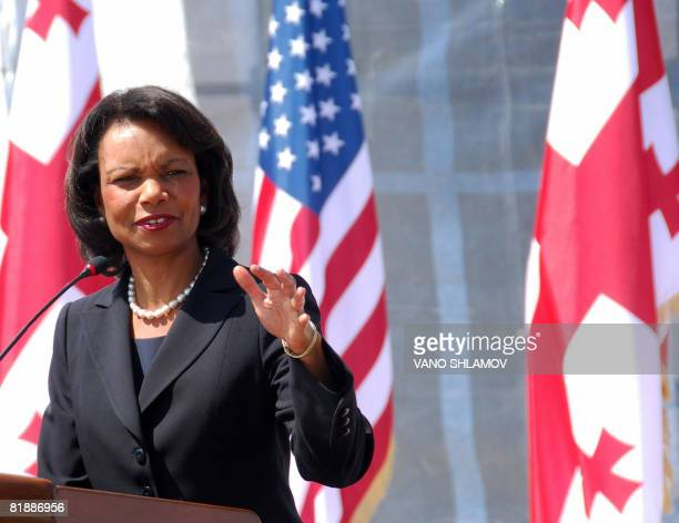 US Secretary of State Condoleezza Rice speaks at a news conference after talks with Georgia's President Mikheil Saakashvili in Tbilisi on July 10...