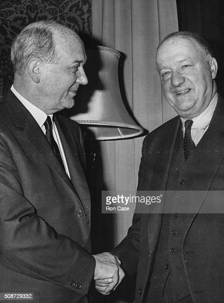 US Secretary of State Dean Rusk shaking hands with British Foreign Secretary Rab Butler during a visit to the Foreign Office London December 19th 1963