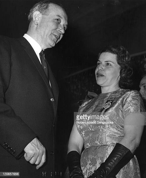 US Secretary of State Dean Rusk speaks with attorney Marjorie Lawson at on of the formal balls held in honor of President Kennedy's inauguration...