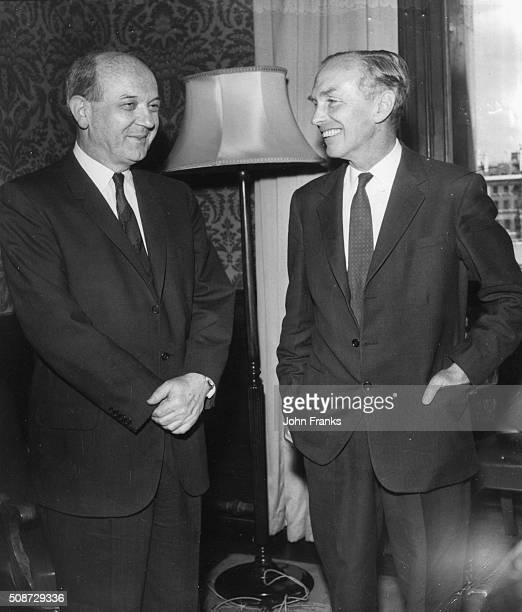 US Secretary of State Dean Rusk talking to Lord Alec DouglasHome at the Foreign Office London June 25th 1962