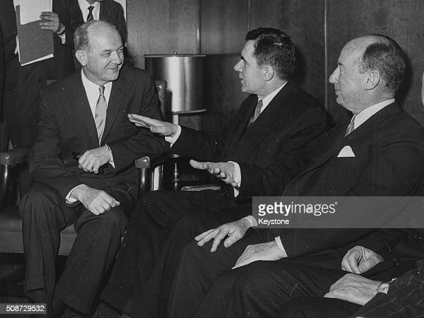 US Secretary of State Dean Rusk talking to Russian Foreign Minister Andrei Gromyko and UN Ambassador Adlai Stevenson at a meeting in Washington DC...