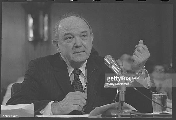 Secretary of State Dean Rusk testifies before the Senate subcommittee regarding the separation of powers July 29 1971