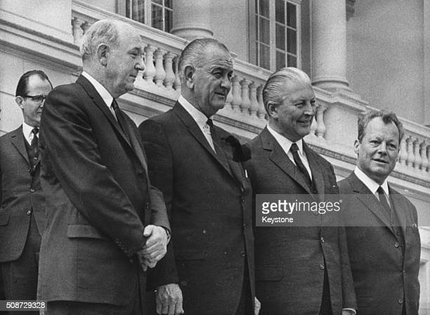 US Secretary of State Dean Rusk US President Lyndon B Johnson West German Chancellor Kurt Georg Kiesinger and West German Chancellor Willy Brandt...