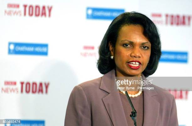 US Secretary of State Dr Condoleezza Rice delivers her Chatham House lecture speech at Ewood Park in Blackburn Friday March 31 2006 A huge security...