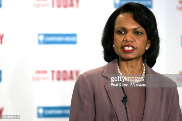US Secretary of State Dr Condoleezza Rice delivers the inaugaral speech of the Chatham House lecture at Ewood Park in Blackburn Friday March 31 2006...