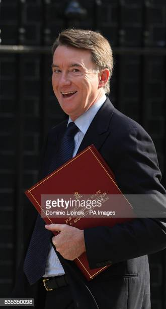 Secretary of State for Business and Enterprise Lord Peter Mandelson arrives at 10 Downing Street for a Cabinet meeting to hear details of the Budget