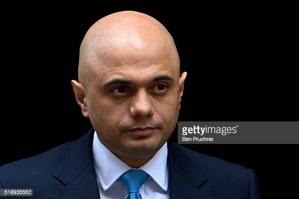 Secretary of State for Business Innovation and Skills Sajid Javid arrives for the weekly cabinet meeting chaired by British Prime Minister David...