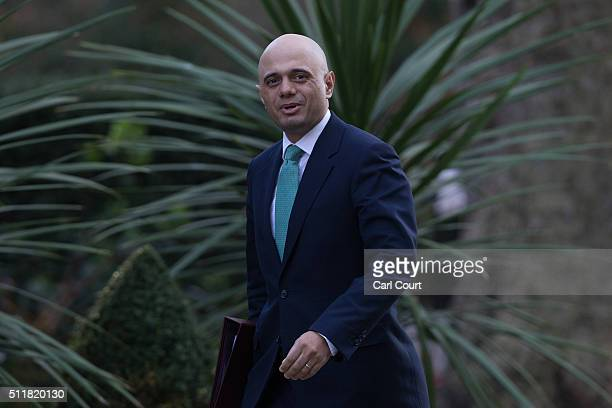 Secretary of State for Business Innovation and Skills Sajid Javid arrives to attend a cabinet meeting at 10 Downing Street on February 23 2016 in...