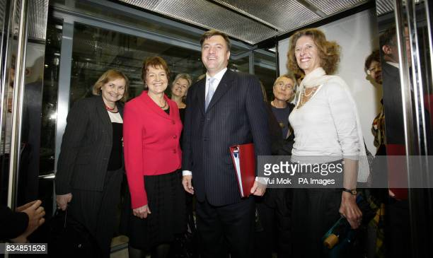 Secretary of State for Children Schools and Families Ed Balls with a group of 16 agony aunts at the DCSF in Westminster London to deliver deliver the...