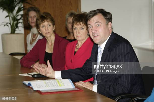 Secretary of State for Children Schools and Families Ed Balls with a group of 16 agony aunts including Deidre Sanders at the DCSF in Westminster...