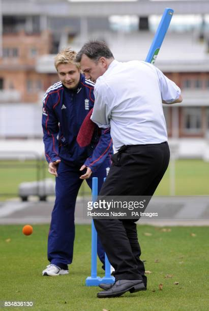 Secretary of State for Children Schools and Families Ed Balls with England allrounder Luke Wright during the launch of the Howzat campaign at Lord's...