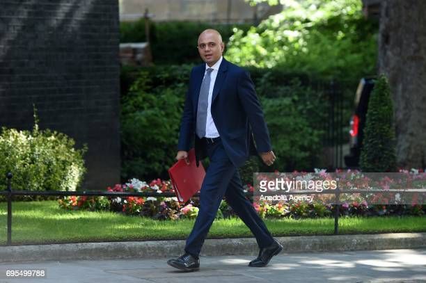 Secretary of State for Communities and Local Government Sajid Javid arrives at Downing Street in London United Kingdom on June 13 2017 The Prime...