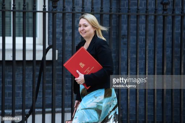 Secretary of State for Culture Media and Sport Karen Bradley arrives at Downing Street in London United Kingdom on June 13 2017 The Prime Minister...
