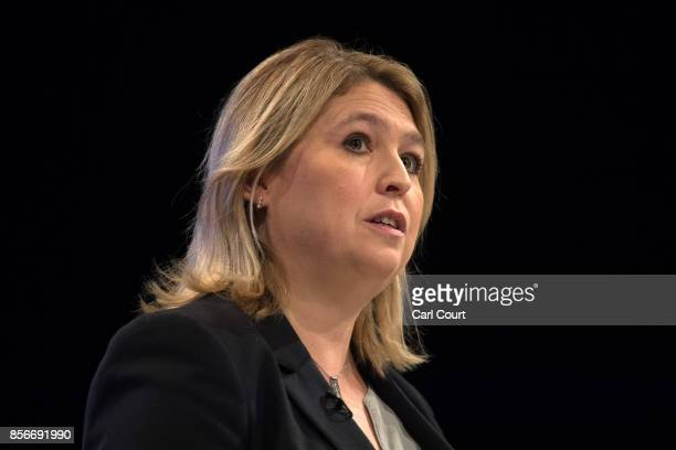 Secretary of State for Culture Media and Sport Karen Bradley delivers a speech on day two of the Conservative Party Conference at Manchester Central...