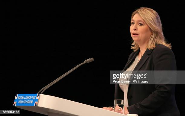 Secretary of State for Digital Culture Media and Sport Karen Bradley speaking at the Conservative party conference at the Manchester Central...