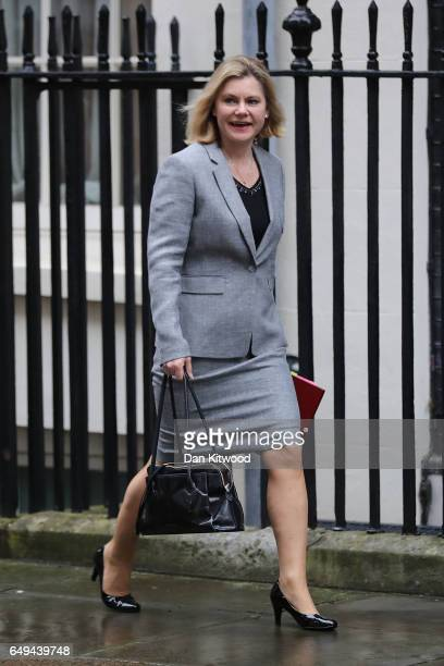 Secretary of State for Education Justine Greening arrives for a PreBudget Cabinet meeting at Downing Street on March 8 2017 in London England Today's...