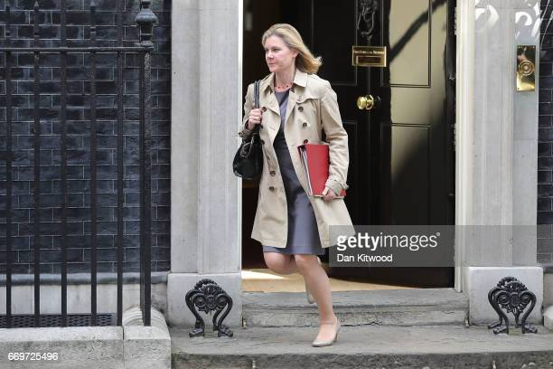Secretary of State for Education Justine Greening leaves 10 Downing Street after Prime Minister Theresa May announced a General Election on April 18...