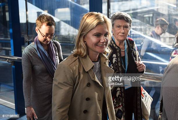 Secretary of State for Education Justine Greening walks to the conference centre on the second day of the Conservative Party Conference 2016 at the...