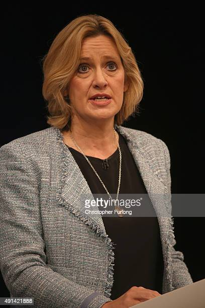 Secretary of State for Energy and Climate Change Amber Rudd addresses delegates on the second day of the annual Conservative party conference on...