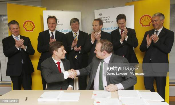 Secretary of State for Energy and Climate Change Edward Davey and Chairman Shell UK Edward Daniels sign an agreement to progress the Peterhead Carbon...