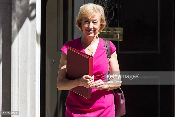Secretary of State for Environment Food and Rural Affairs Andrea Leadsom leaves Number 10 Downing Street following the weekly cabinet meeting on July...