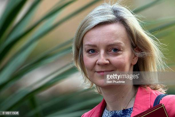 Secretary of State for Environment Food and Rural Affairs Elizabeth Truss arrives for the weekly cabinet meeting chaired by British Prime Minister...