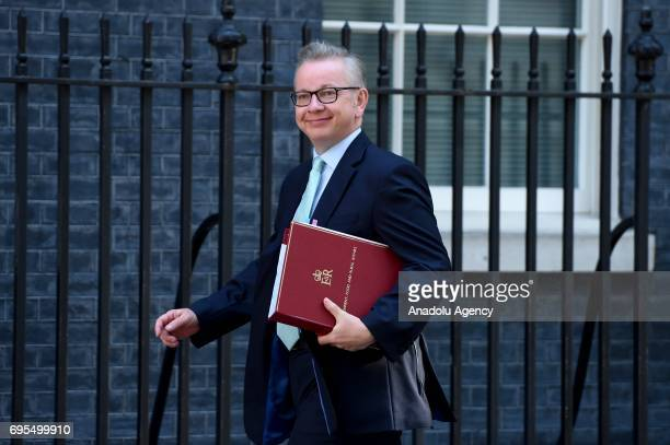 Secretary of State for Environment Food and Rural Affairs Michael Gove arrives at Downing Street in London United Kingdom on June 13 2017 The Prime...