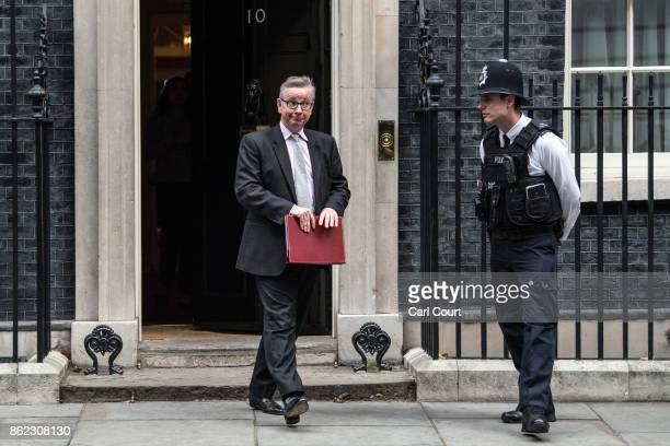 Secretary of State for Environment Food and Rural Affairs Michael Gove leaves after attending a cabinet meeting in Downing Street on October 17 2017...
