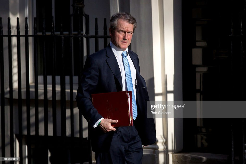 Secretary of State for Environment Food and Rural Affairs Owen Paterson arrives in Downing Street to attend a weekly cabinet meeting on April 8 2014...