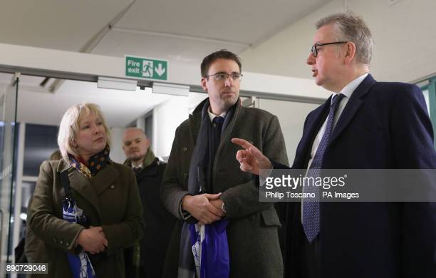 Secretary of State for Environment Michael Gove with Chief Executive Claire Horton and Director of Operations Peter Laurie during a visit to...