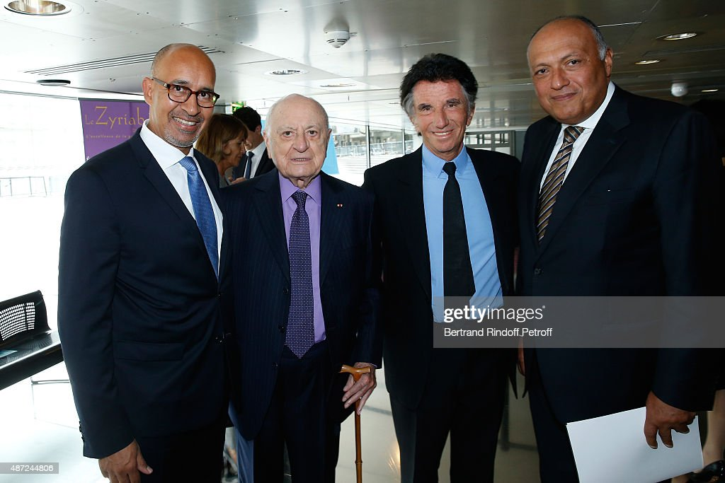Secretary of State for European Affairs Harlem Desir, Pierre Berge, President of the 'Institut du Monde Arabe' <a gi-track='captionPersonalityLinkClicked' href=/galleries/search?phrase=Jack+Lang&family=editorial&specificpeople=220296 ng-click='$event.stopPropagation()'>Jack Lang</a> and Foreign Minister of Egypt <a gi-track='captionPersonalityLinkClicked' href=/galleries/search?phrase=Sameh+Shoukry&family=editorial&specificpeople=11631611 ng-click='$event.stopPropagation()'>Sameh Shoukry</a> attend the Inauguration of the 'Osiris, Mysteres Engloutis d'Egypte' at Institut du Monde Arabe, by the President of the French Republic Francois Hollande. On September 7, 2015 in Paris, France.