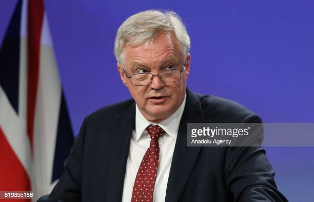 Secretary of State for Exiting the European Union David Davis and Chief negotiator for the European Union Michel Barnier hold a joint press...